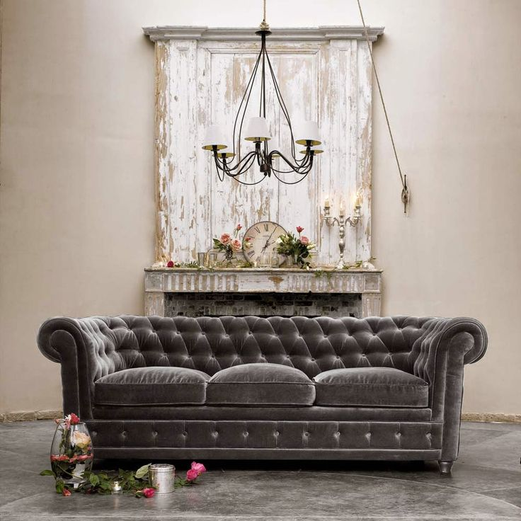 grey velvet chesterfield; shabby chic mantel vignette