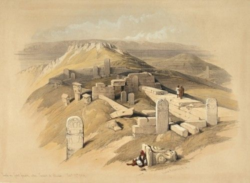 ROBERTS, David and Louis HAGUE. Temple on Gebel Gerabe called Surabit el Khadim, Feby. 17th 1839. #holyland