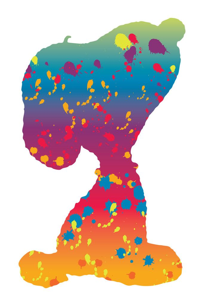 Snoopy in rainbow silhouette with splatter paint