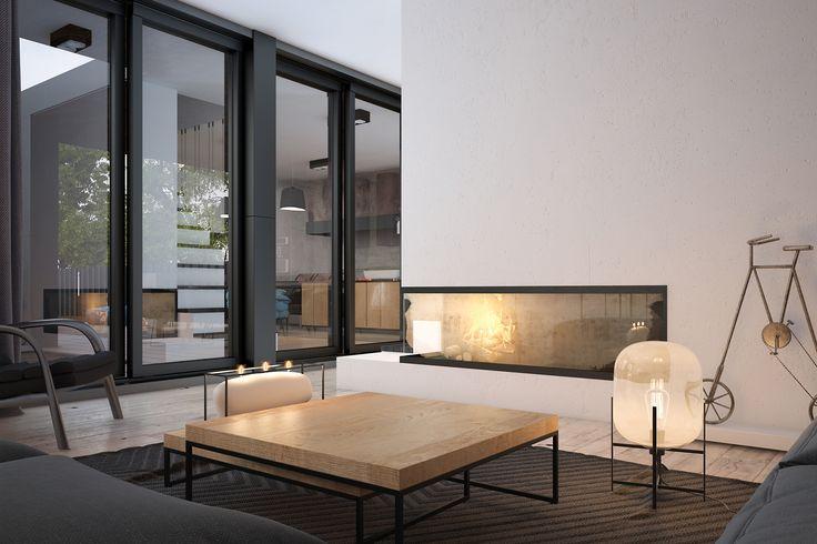 Панорамные окна и камин предоставляют максимум возможностей, чтобы наслаждаться обстановкой.   Комфортный и уютный современный интерьер от студии Zooi Киев