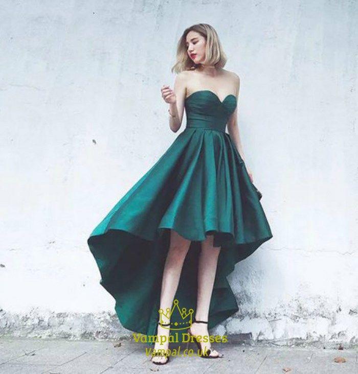 d4d8b055314a2 Emerald Green Strapless Sweetheart High Low A-Line Long Prom Dress ...