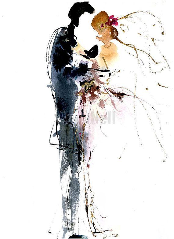 Aquarelle Mariage vive les mariés illustration par AtelierAquanell https://www.etsy.com/fr/listing/464025277/aquarelle-mariage-vive-les-maries?ref=related-7