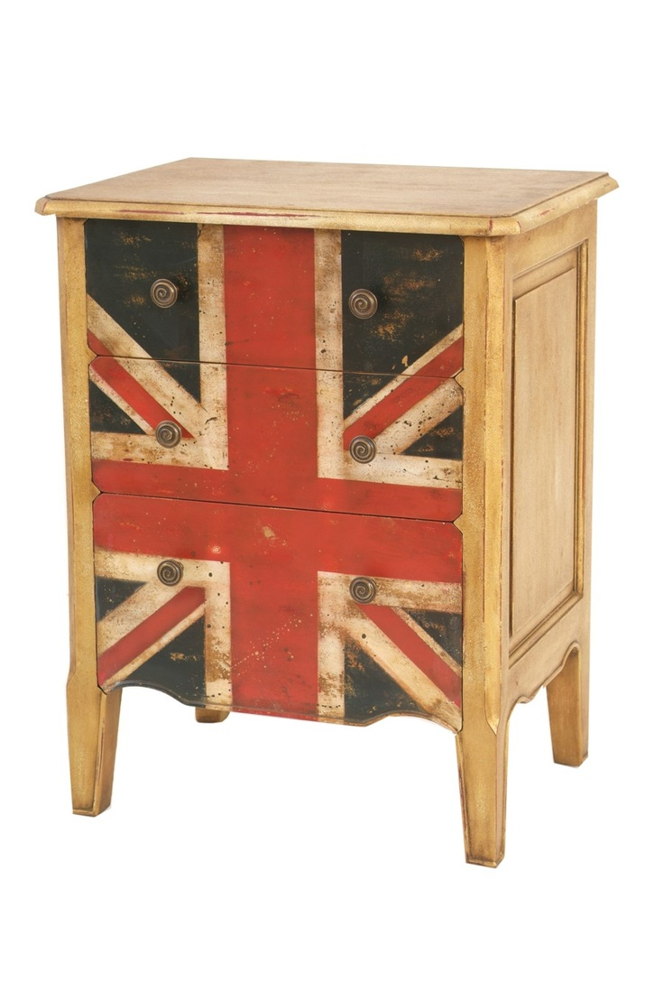 Union Jack Mahogany Bedside Table  This bedside table bursting with British charm is made from wood and bears the Union Jack in distressed finish. It features 3 drawers and side panelling for detail.