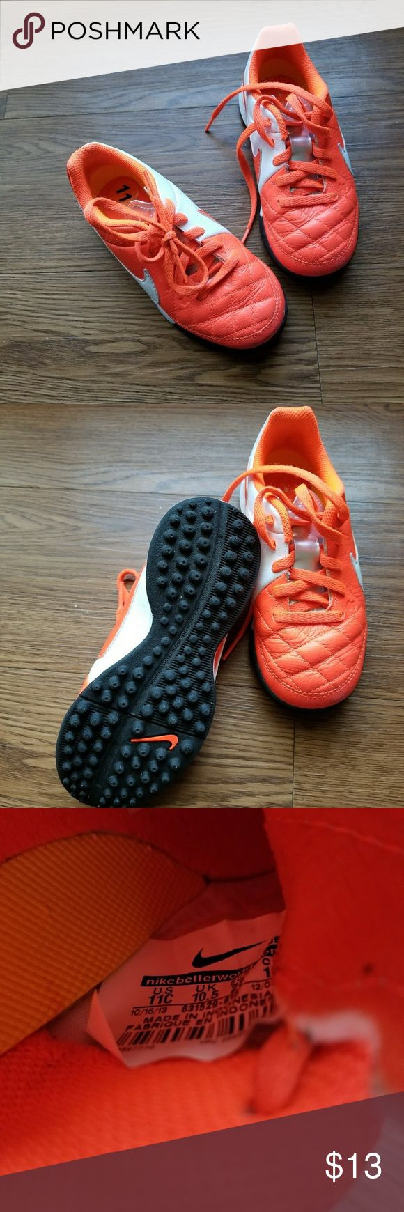 Nike Toddler Soccer Cleats 12 Nike Premier Pro Soccer Advantage shoes. Orange, white, & silver with conical suds for traction. Gently worn. Nike Shoes Sneakers