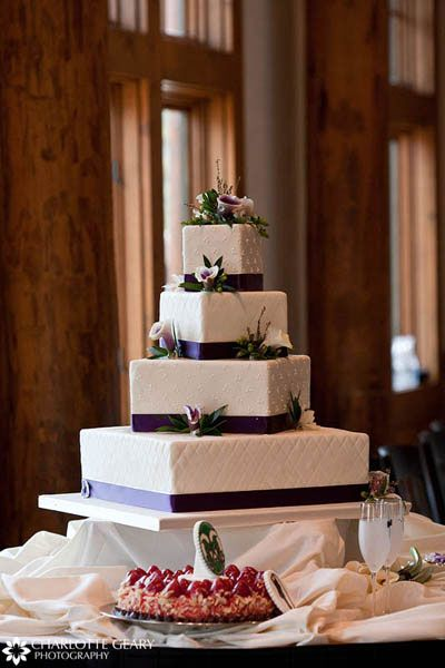 purple square wedding cakes | square wedding cake with purple ribbons and calla lilies