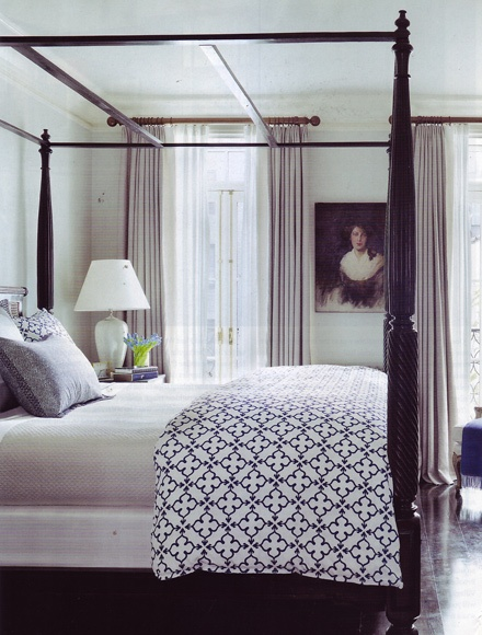 A David Flint Wood-designed master suite in the Greenwich Village, courtesy of Architectural Digest  http://www.johnrobshaw.com/detail.htm?Bedding=Pipal_Indigo_Duvets_+_Shams=1,2,1Digest Dreamrobshaw, Wood Design Master, Dreams Robshaw, Guest Bedrooms, Flint Wood Design, Greenwich Village, Architecture Digest, Country Bedrooms, David Flint