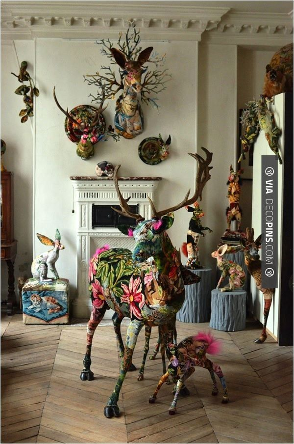 Fr�d�rique Morreavel have given new life to the forgotten craft of tapestry. Through reviving vintage tapestries and working them into taxidermy sculptures they have created beautiful contemporary works of art that will be a great talking point in any room.