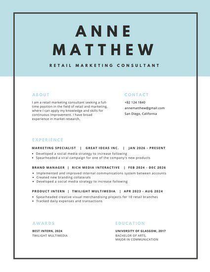 Blue Header With Black Border Minimalist Resume { Design Inspo   Retail Marketing  Resume  Creative Marketing Resumes