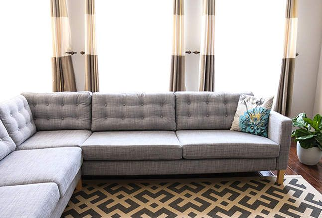 1 KARLSTAD corner sofa, 84 fabric-covered buttons, tufting needle, twine     17 Genius IKEA Hacks That Will Change Your Apartment Forever