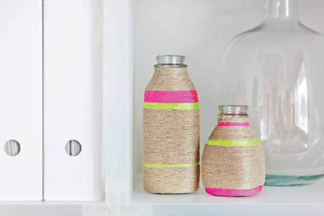 Instant vases from milk bottles.