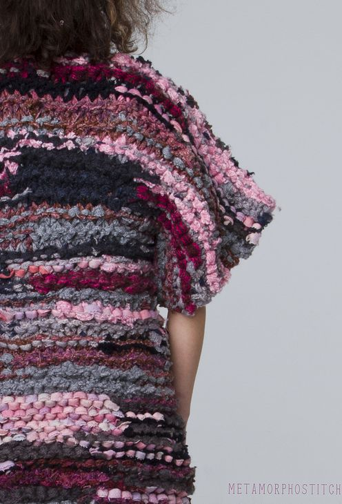 HIX | by Anna Hicks | Knit Together Jacket. Second-hand wool jerseys and blankets, dyed, cut and hand knitted into a new Jacket.