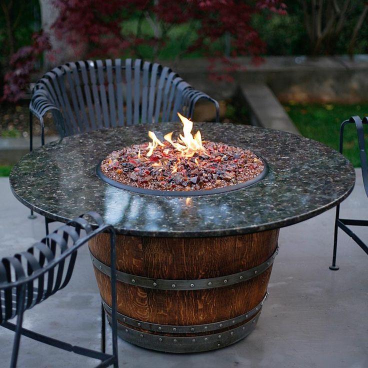 Gas Glass Fire Rocks Gas Feuerstelle Weinfass Tisch Feuerstellen Im Freien
