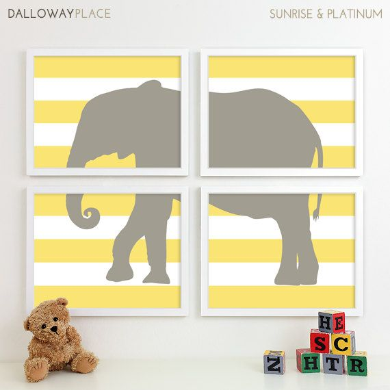 Safari Nursery Art, Elephant Nursery Print Animal Nursery Wall Art, Jungle Baby Nursery Decor Kids Art For Children Playroom - Four 8x10. $50.00, via Etsy.