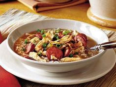 Chicken-and-Sausage Gumbo | A symbol of Creole cooking, gumbo is ubiquitous in homes and restaurants across Louisiana. Andouille sausage and file powder make this chicken-and-sausage gumbo a classic and, as in any good gumbo, a deep, rich roux thickens the stew.