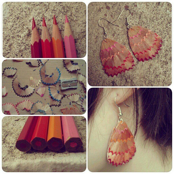red-orange-pink pencil earring