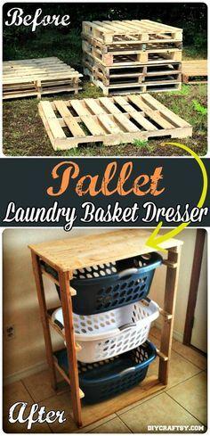 Pallet Laundry Basket Dresser - 150 Best DIY Pallet Projects and Pallet Furniture Crafts - Page 15 of 75 - DIY & Crafts