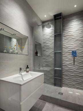 серая плитка в интерьере ванной комнаты
