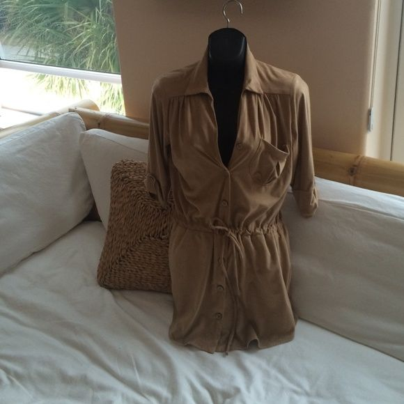 Light weight soft suede Dress Camel colored. It ties at the waist. Size small but fits like a med or size 6 from Hammock Beach Resort. New. Never worn! Lucy Love Dresses