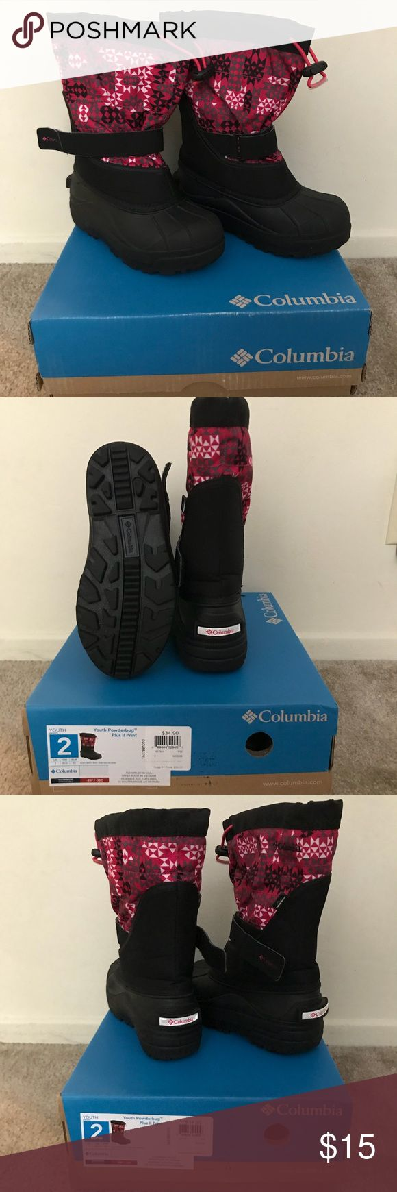 Columbia Snow Boots for girls Columbia Snow Boots for girls  Used only once for a snow trip as the owner lives in southern california and we hardly get any snow here. The owner grew out of it right away. Columbia Shoes Rain & Snow Boots