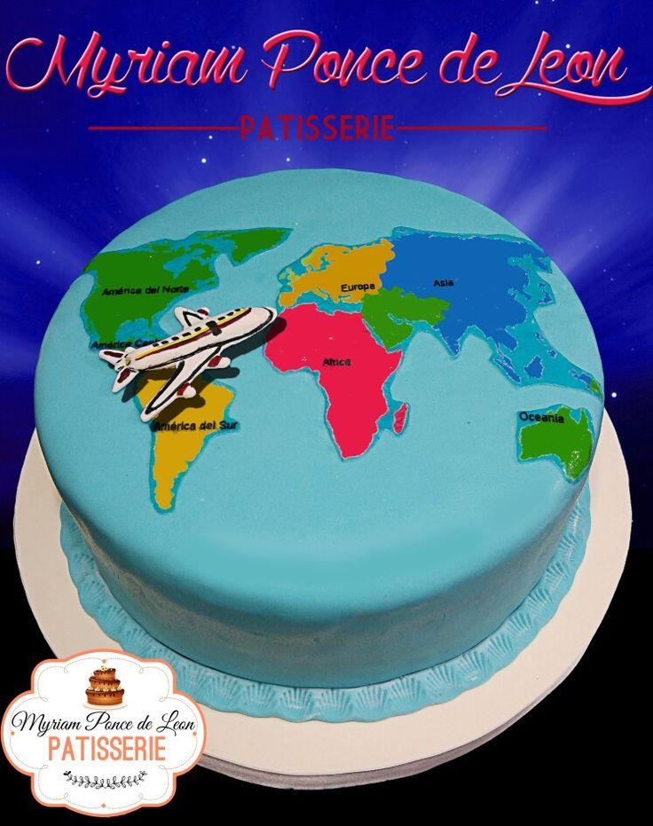 Cake mapa del mundo realizada con lamina comestible