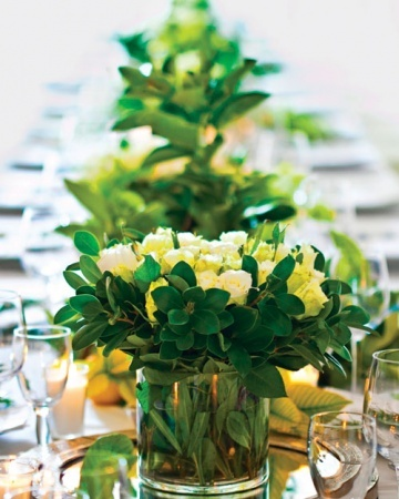 Summer Tablescape with Boxwood Cuttings and White Roses - Note the Low Arrangements for Dinner Conversation Across the Table via www.marthastewartweddings.com