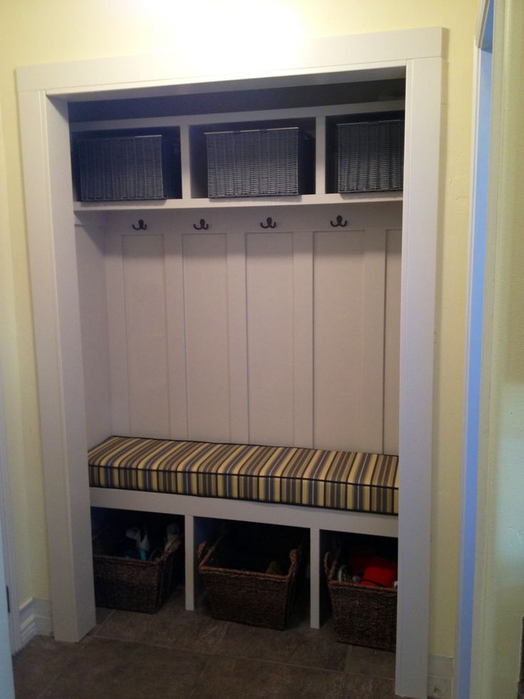 Closet turned mudroom storage bench for the home Mud room benches