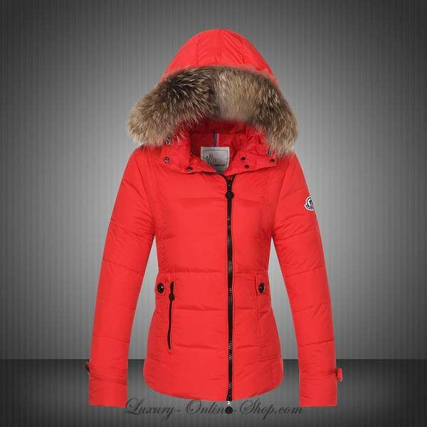 Wholesale Moncler Down Winter Jackets For Women Red Fur Hooded