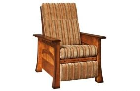 Amish Craftsman recliner, handcrafted of solid wood and covered with plush fabric for beauty and durability.