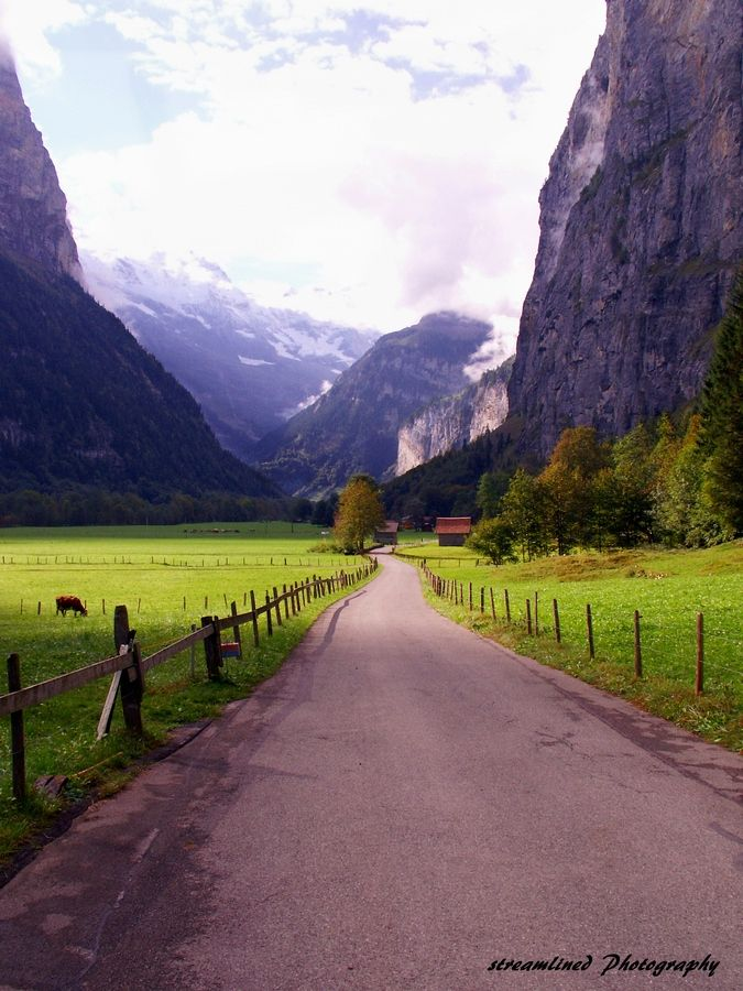 Lauterbrunnen, Switzerland. We walked along this road. The fields were full of wildflowers. Cows were wondering around with their cowbells clanging and ringing. So beautiful!