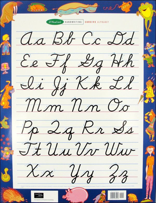 DNealian Handwriting Wall Chart Cursive