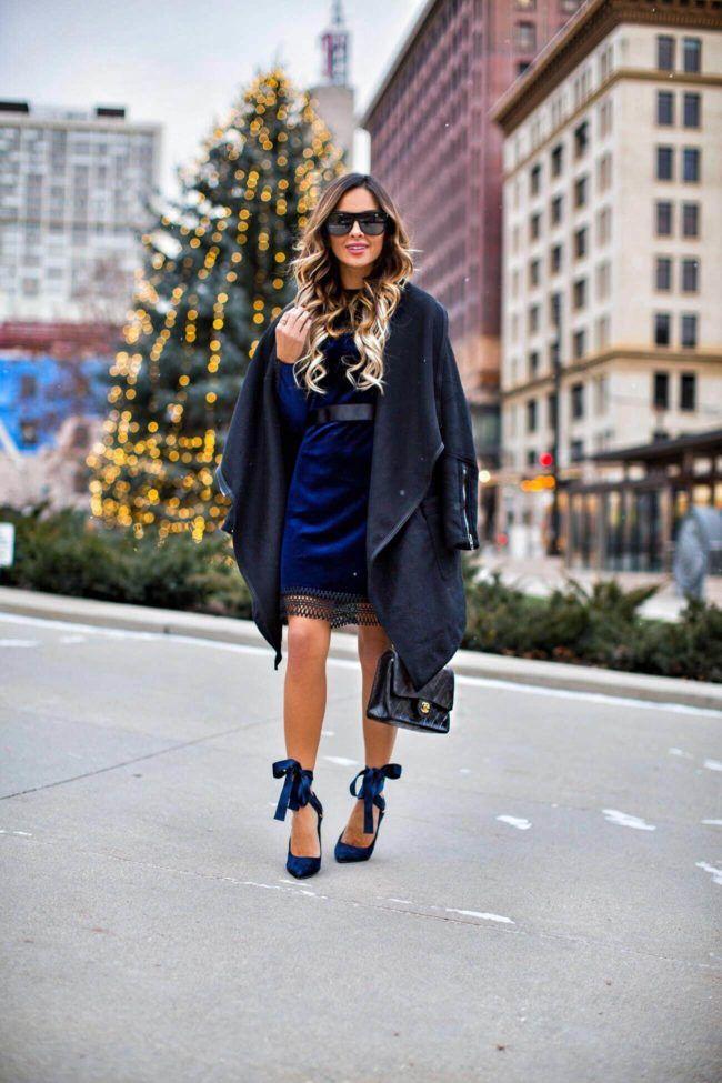 Trending: Velvet Holiday Dresses - Topshop Velvet Dress via Nordstrom // BlankNYC Black Waterfall Coat // Alice + Olivia Ribbon Heels // Saint Laurent Sunglasses // Chanel Bag December 8th, 2016 by maria