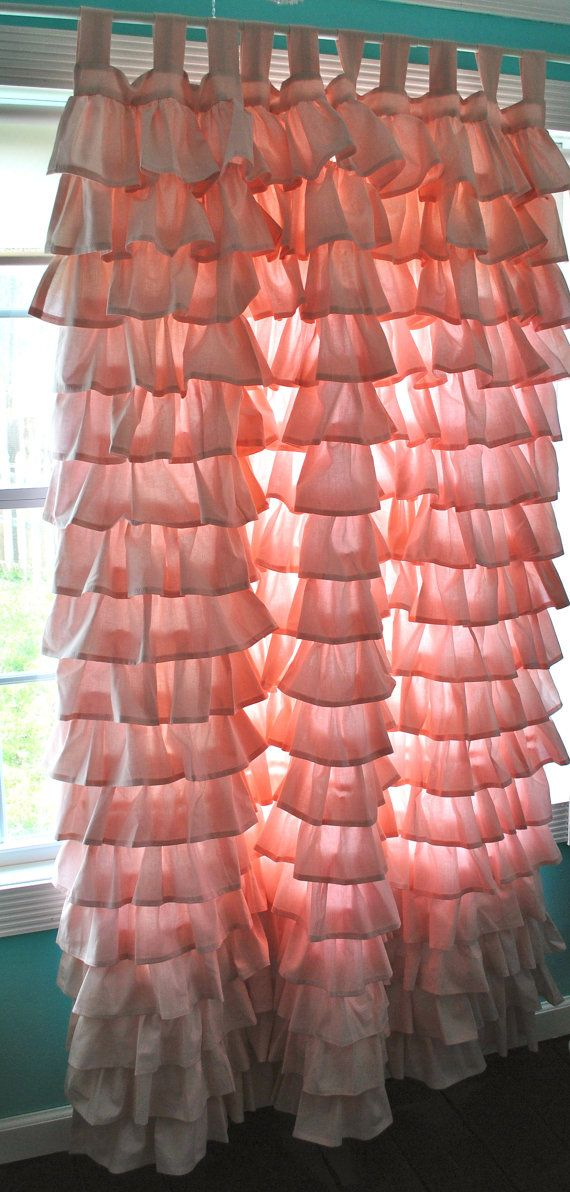 Super adorable ruffled curtains!!!  I wanna make these for my little girl…