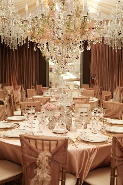 GORGEOUS ! Champagne and blush wedding reception www.cvlinens.com to recreate at super low prices.