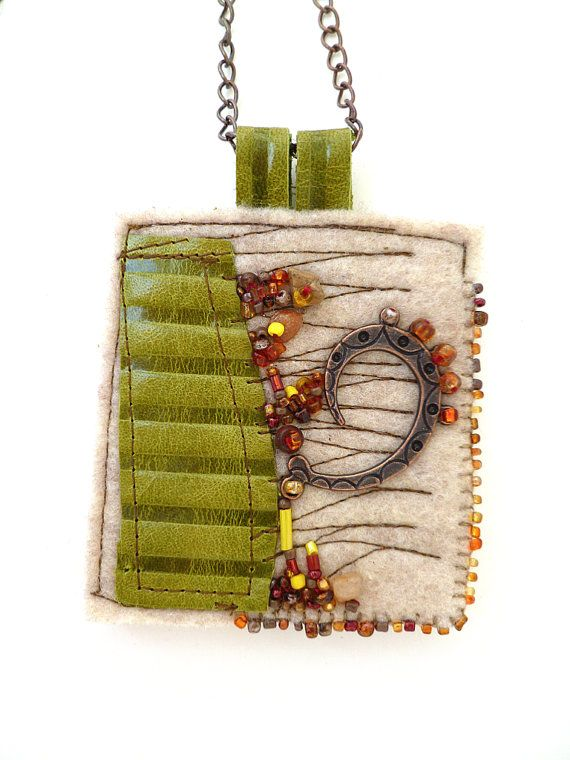 Fragments in beige fiber art necklace featured in Sew by Cesart64