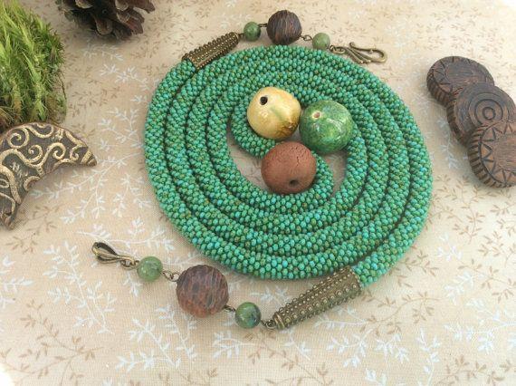 Длинное зеленое ожерелье лариат жгут трансформер из от SeedBySeed