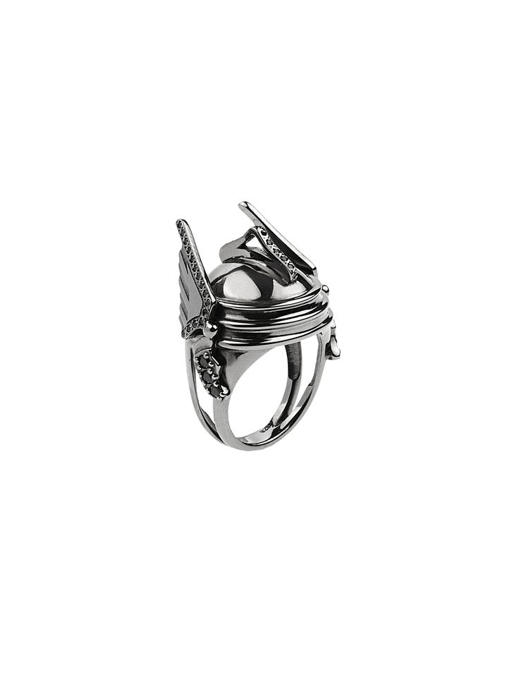 Aliki Stroumpouli - Hermes ring, black rhodium patinated silver www.alikistroumpouli.com