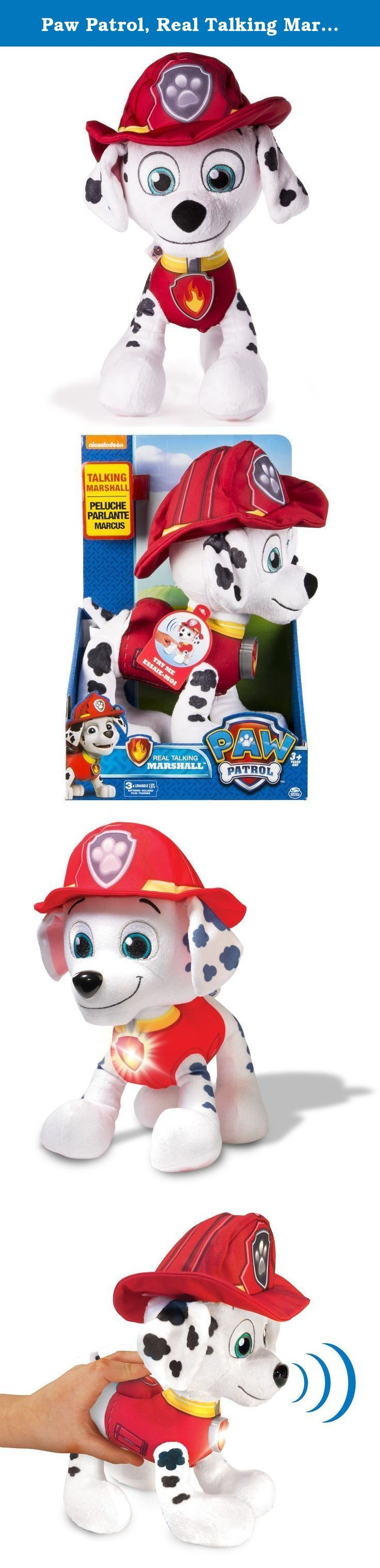 Paw Patrol, Real Talking Marshall Plush. Paw Patrol is on a Roll! Now you can bring home your favourite Paw Patrol Pup with Real Talking Marshall! Just squeeze Marshall's badge to hear phrases directly from the Paw Patrol show! Perfect for bedtime or playtime Marshall comes with you wherever you go and helps you on all of your Paw Patrol adventures throughout the day! Each Real Talking plush Pup comes with a badge, their Paw Patrol vest and hat. Collect all your favorite pups for more Paw...