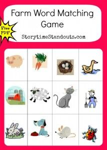 Storytime Standouts offers printables for beginning readers including a Farm Word matching game #Kindergarten