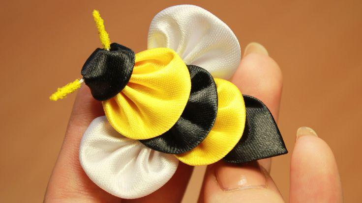 Пчела Канзаши Мастер класс ൠ DIY Kanzashi bee