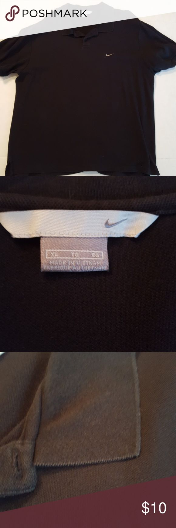 Men's 2 button black Nike Polo Men's black Nike polo shirt with two buttons. White embroidered Nike swoosh on left chest and black NIKE embroidered on left sleeve. Used condition. Nike Shirts Polos