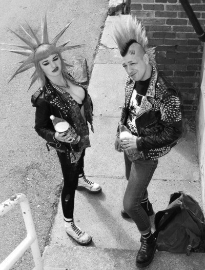 Male and female punks drinking 40 oz, mohawk and liberty spikes
