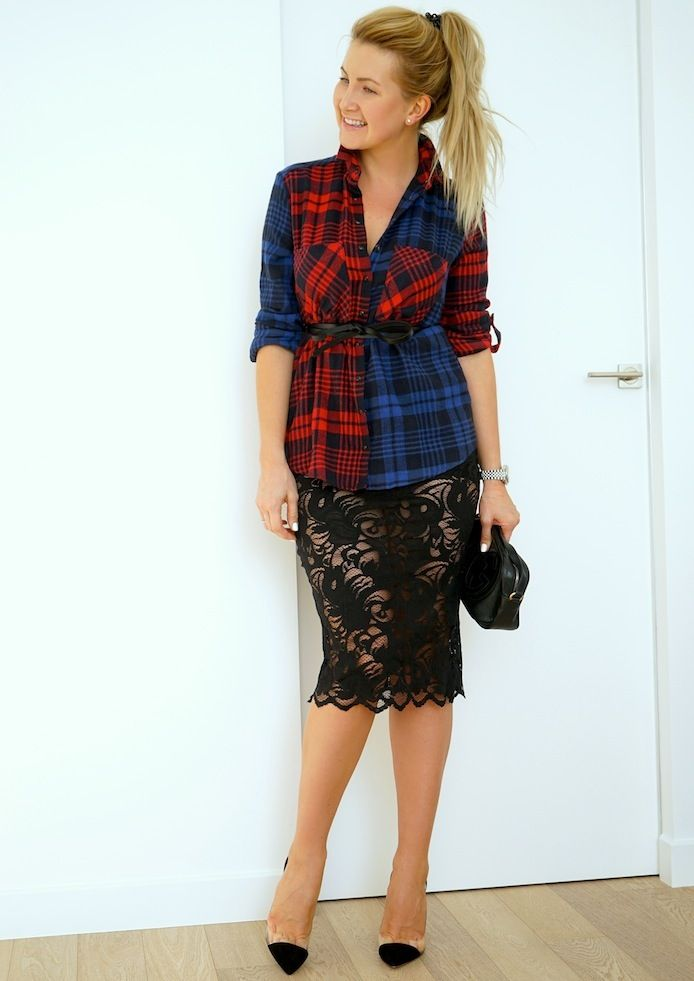 How to wear plaid shirt for evening outfit? Plaid shirt with lace evening skirt Клетчатая рубашка в вечернем образе. http://ivanova-gazinskaya.ru/krasnaya-rubashka-v-kletku-3-obraza/