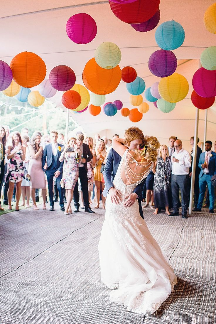 Colourful Hanging Paper Lanterns | First Dance | Bright Music Festival Wedding | Outdoor Stretch Tent Reception