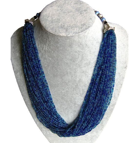 Multi layer Blue and Light blue Seed Beads Necklace.  This 26.77inch unique Blue and Light blue bead necklace is simply gorgeous! This elegant