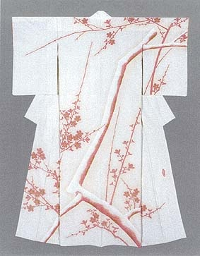 "Formal Kimono with yuzen-zome pattern ""Early Spring"" by Moriguchi Kako, Japanese National Living Treasure"