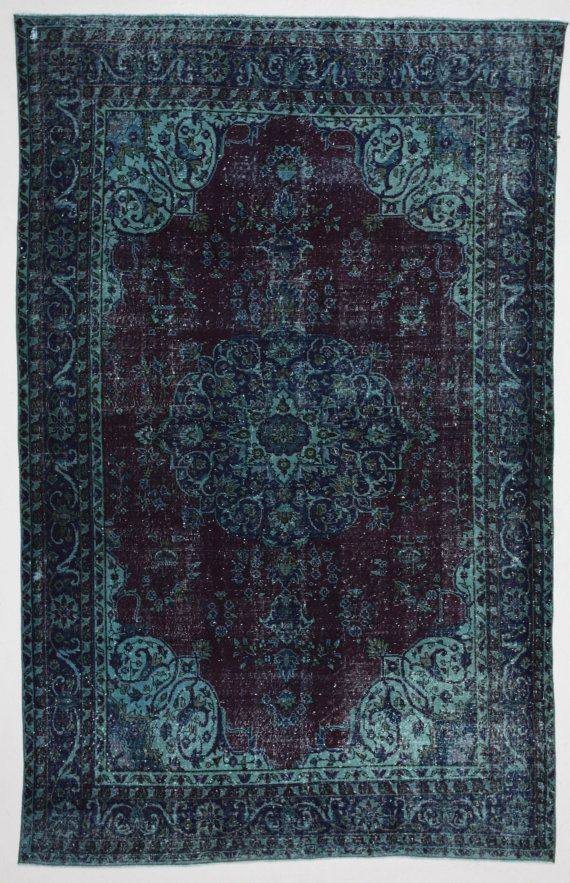 Deep Jewel Tones Overdyed Rug from bazaarbayar - would love this