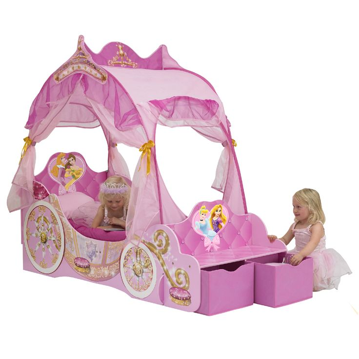 Disney Princess Toddler Carriage Bed With Storage Boxes Girls Bedroom Furniture