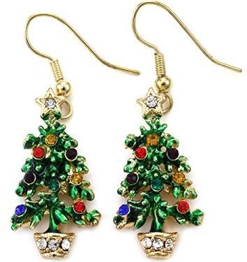 Happy Colorful Christmas Tree Earrings Hoop Dangle Drop StyleIt does not matter if its bows, bells, snowflakes, or Christmas trees I love to wear unique Christmas earrings.  In addition to making an unforgettable first impression Christmas day 2017 these also make awesome gifts and stocking stuffers.  I really love the wide choice of Christmas earrings from silver to rose gold.  Elevate your Christmas wardrobe or really make an ugly Christmas sweater stand out for the holiday season 2017.