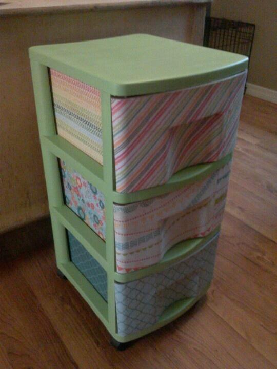 Plastic bin cart makeover using scrapbook paper mod podge for Painting plastic bins