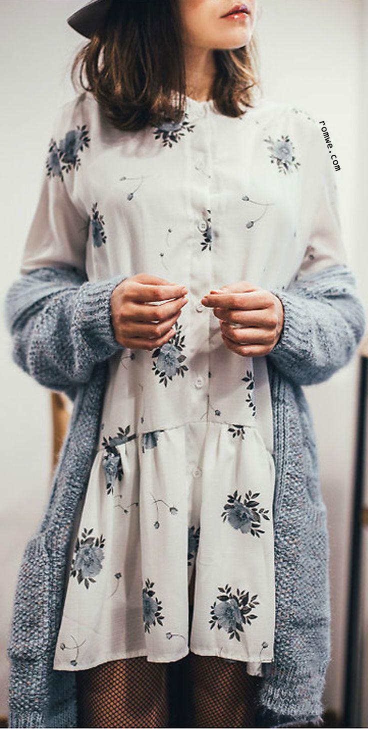 White V Neck Flower Print Shirt Dress